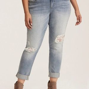 Torrid Lace Inset Boyfriend Jean - Light Wash